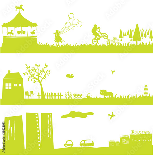 cute green landscapes and cityscape