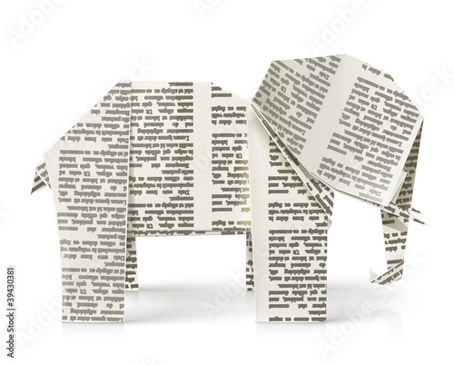 elephant origami paper toy vector illustration isolated on