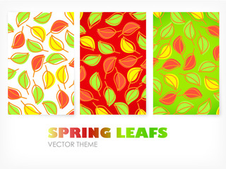 Vector - colored banners with leafs