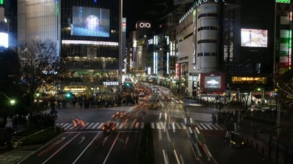 In the night of Shibuya, and a scramble crossing,Japan