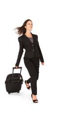 Junge Sekretärin mit Koffer