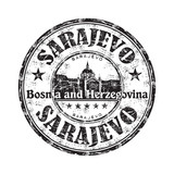 Sarajevo grunge rubber stamp poster
