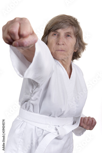 elderly woman in martial arts position