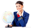 Flight attendant with the globe