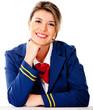 Air hostess smiling