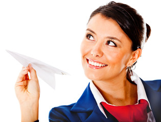 Air hostess with a paper airplane