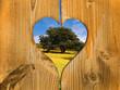 Coeur balcon en bois, arbre à la campagne