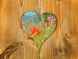 Coeur balcon en bois, coquelicots