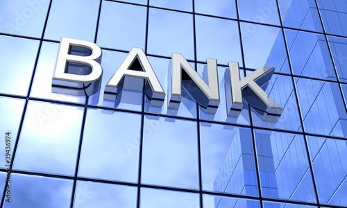 Spiegelfassade Blau - Bank Konzept