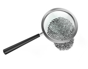 Magnifier and fingerprint, isolated on white