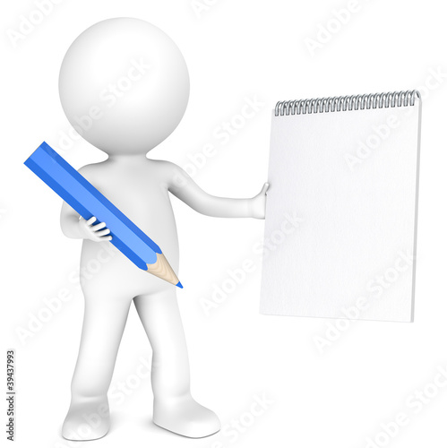 3D little human character holding a notepad and a Blue Pencil