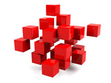 Abstract geometric shapes from cubes isolated.