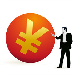 Businessman pointing at the symbol of Yuan