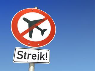 Schild Streik Flugzeug