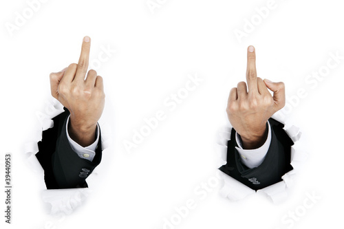 Angry businessman with middle finger