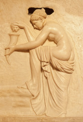 Marble relief of nude woman