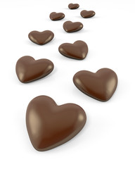 Few heart shaped chocolate candies