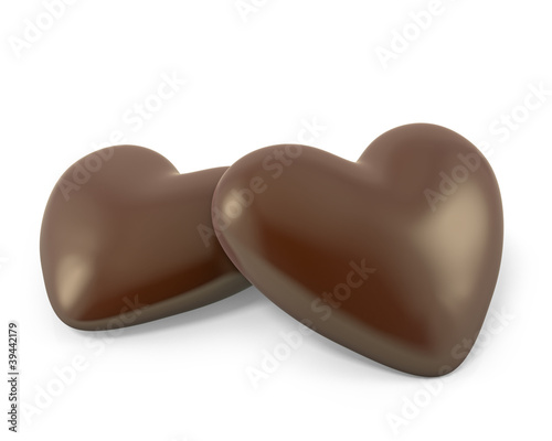 Pair of heart shaped chocolate candies