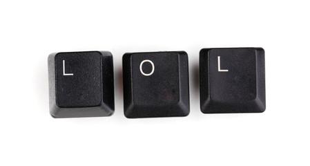 Keyboard keys saying lol isolated on white