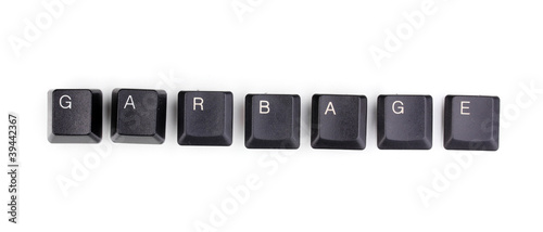 Keyboard keys saying garbage isolated on white