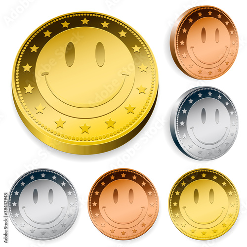 Coin Or Token Set With Smiley Face