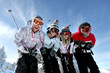 group of teenagers skiing