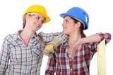 Two female carpenters chatting