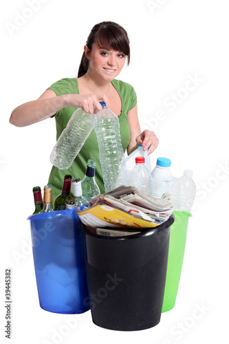 Woman sorting recycling