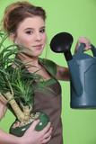Woman watering a houseplant