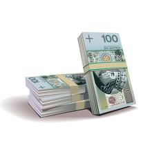 Złotych wektor banknoty ilustracja, motyw finansowy