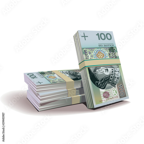 zloty banknotes vector illustration, financial theme