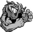 Graphic Vector Image of a Boar or Wild Pig Mascot with Fighting