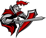 Knight Warrior Mascot Stabbing with Sword and Shield Vector Imag - 39446133