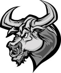Bull Longhorn Mascot Head Vector Cartoon