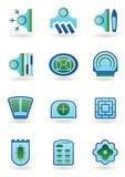Urban public buildings  icons set - vector illustration poster