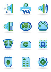 Urban public buildings  icons set - vector illustration
