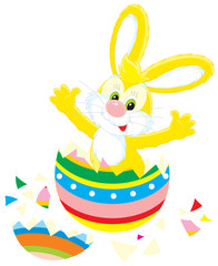 Easter Bunny that hatched out from a painted egg