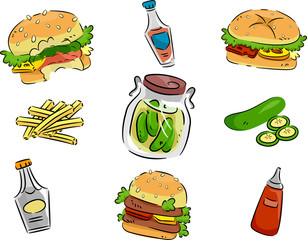 Hamburger and Pickle Icons