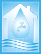 blue water symbol with house, drop and tap