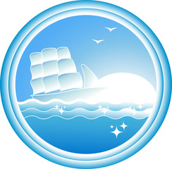 round sign with sailing ship on blue sea and sun