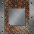 Brushed aluminum frame bolted to rusted diamond metal background