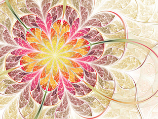 Colorful spring, fractal flower