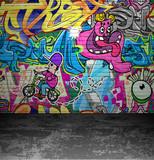 Fototapety Graffiti wall urban street art painting