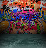 Fototapety Graffiti wall urban street art painting