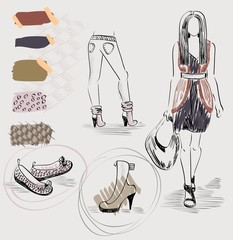 trendy fashion dresses, shoes and color combinations.