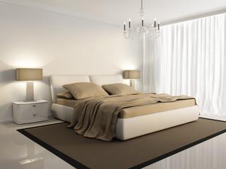 Chic luxury hotel biege, white, bedroom, with chandelier