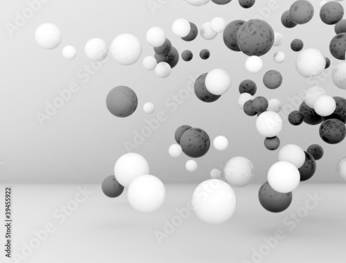 3D Spheres glossy black and white