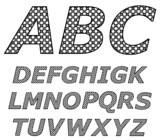 Vector illustration of a black and white alphabet.