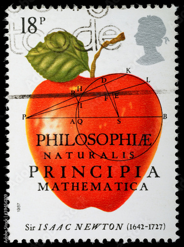 Sir Isaac Newton Gravity Postage Stamp