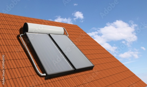 Solar heater system on the roof